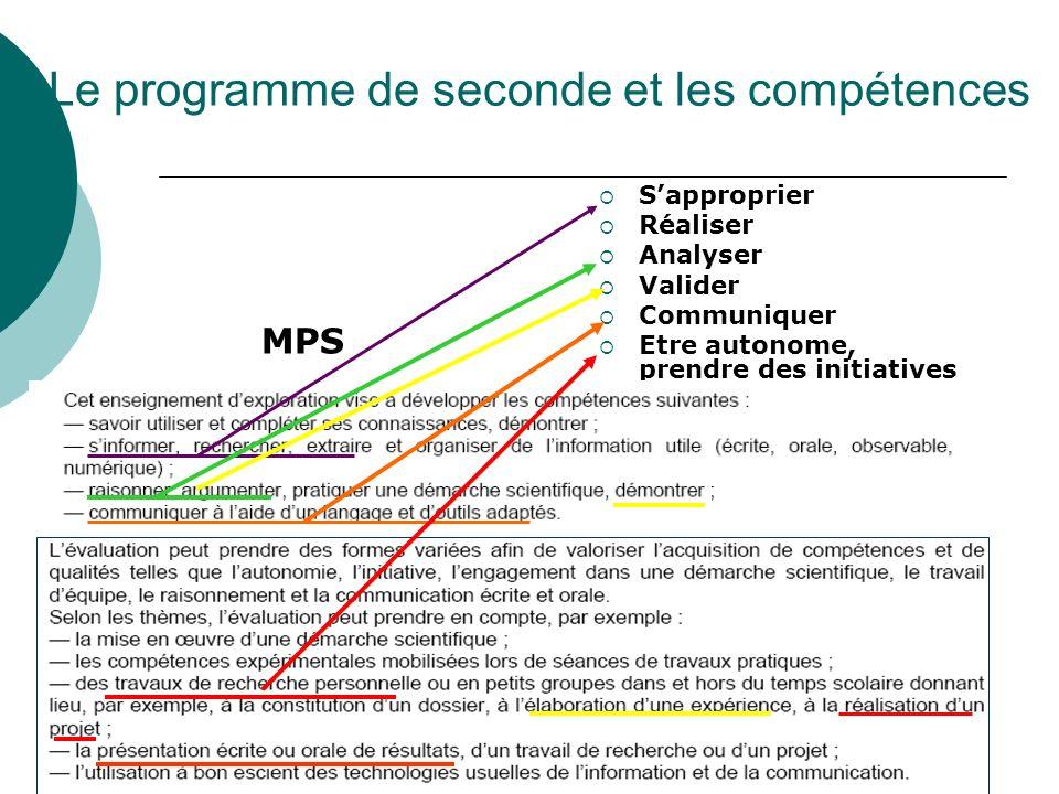 Le programme de seconde et les compétences