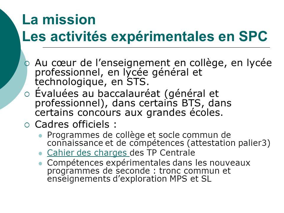 La mission Les activités expérimentales en SPC