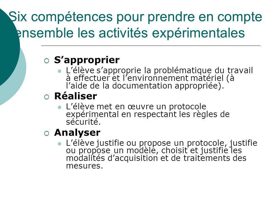 Six compétences pour prendre en compte l'ensemble les activités expérimentales