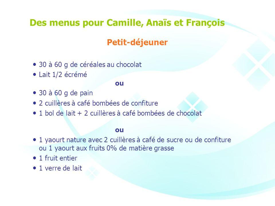 Des menus pour Camille, Anaïs et François