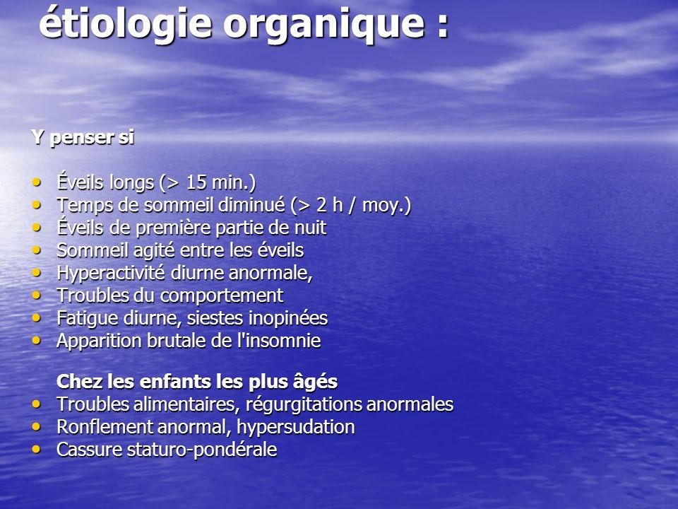 étiologie organique : Y penser si Éveils longs (> 15 min.)