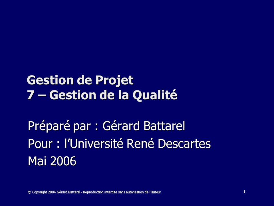 Gestion de Projet 7 – Gestion de la Qualité