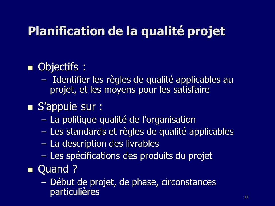 Planification de la qualité projet