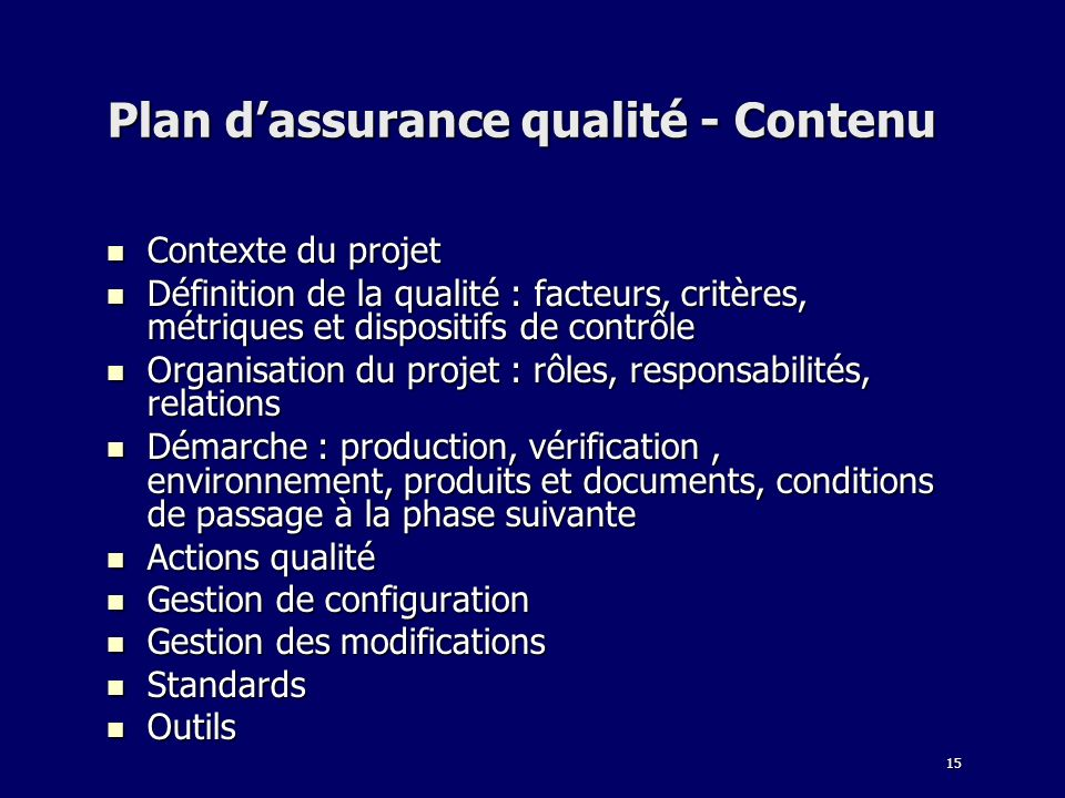 Plan d'assurance qualité - Contenu