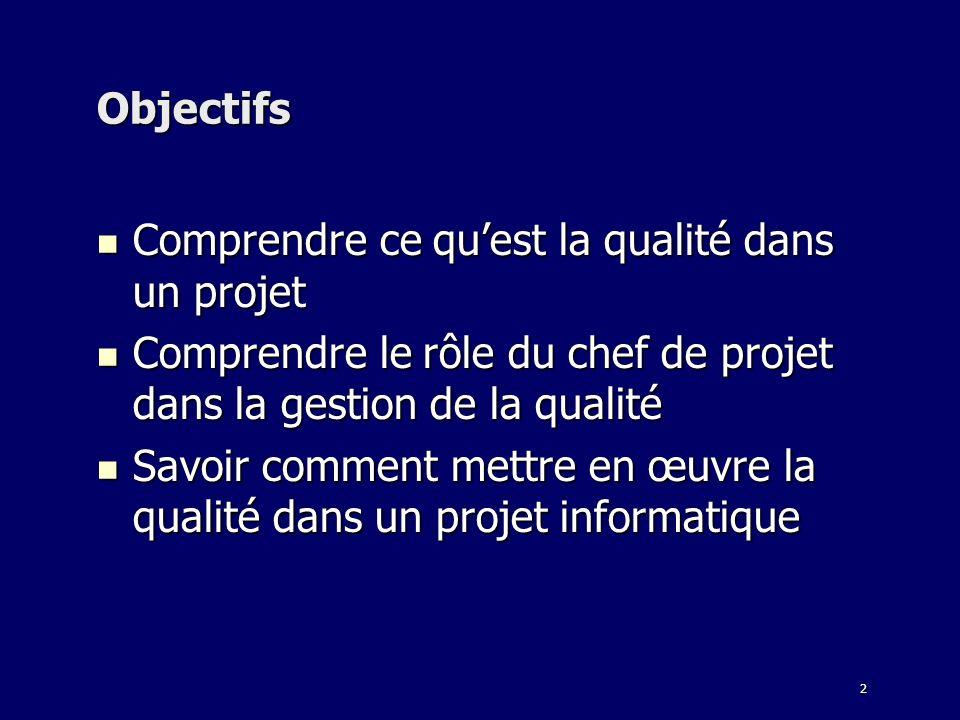 Objectifs Comprendre ce qu'est la qualité dans un projet. Comprendre le rôle du chef de projet dans la gestion de la qualité.