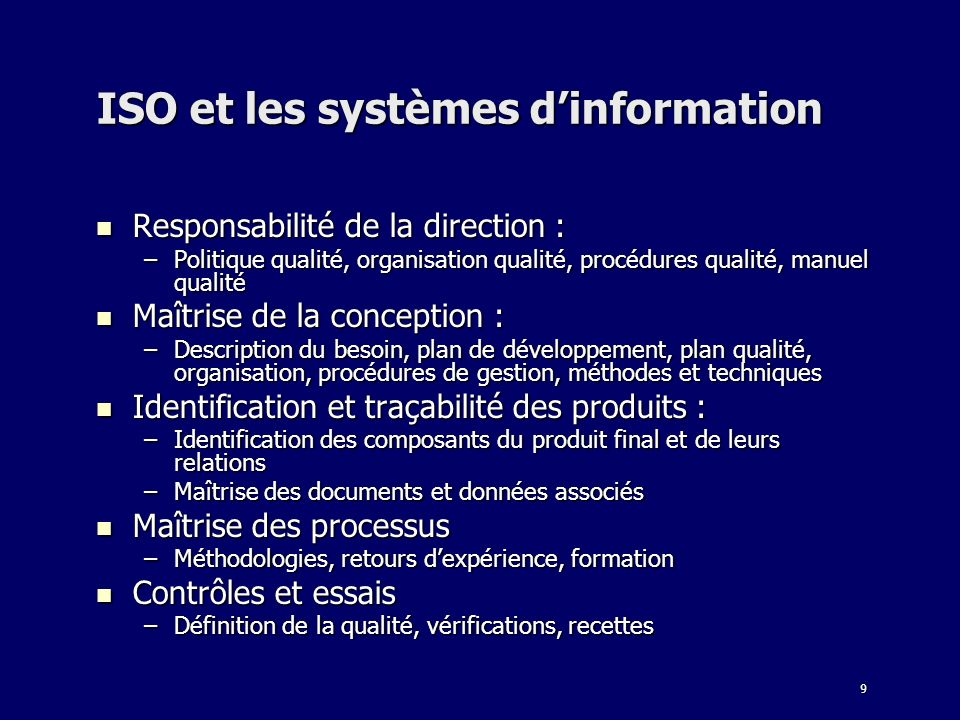 ISO et les systèmes d'information