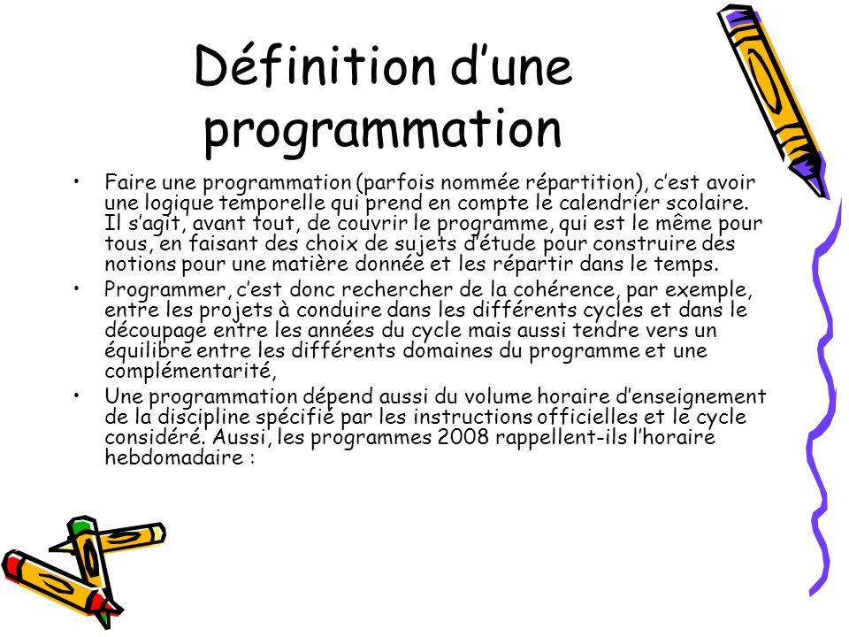 Définition d'une programmation