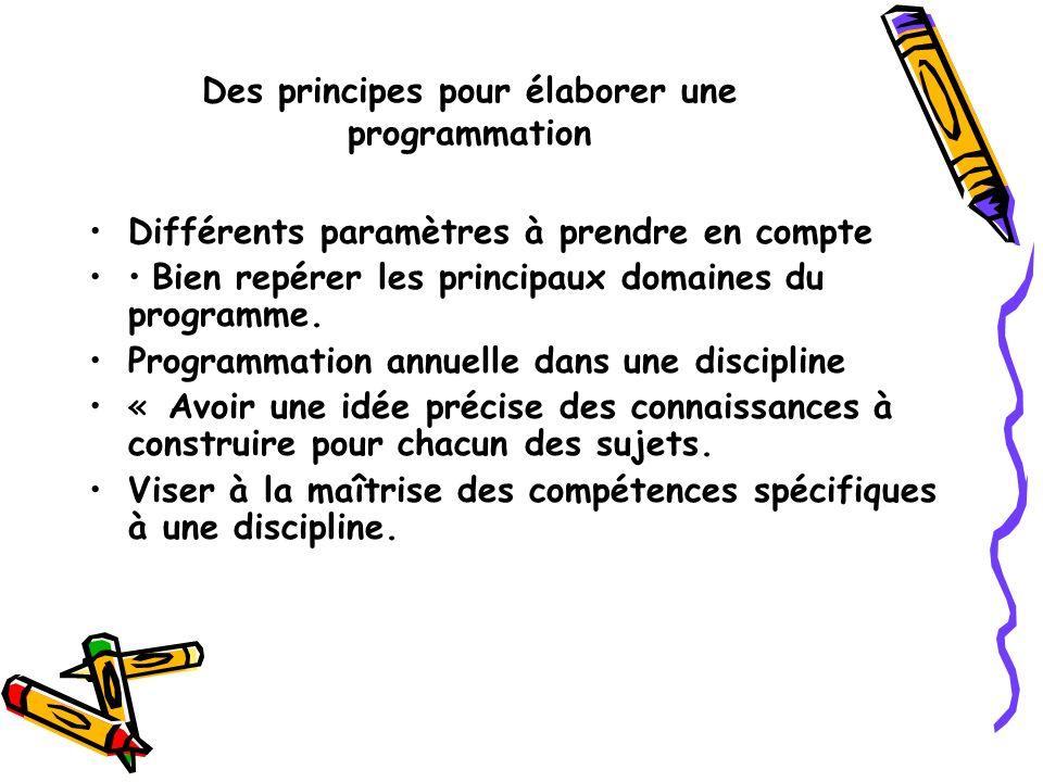 Des principes pour élaborer une programmation