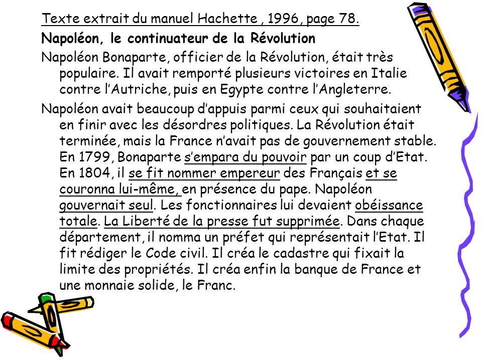 Texte extrait du manuel Hachette , 1996, page 78