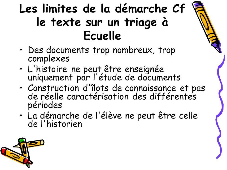 Les limites de la démarche Cf le texte sur un triage à Ecuelle