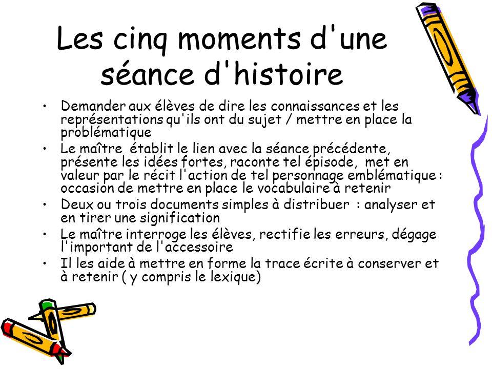 Les cinq moments d une séance d histoire