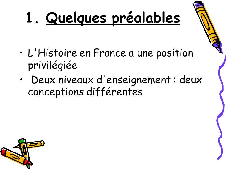 1. Quelques préalables L Histoire en France a une position privilégiée