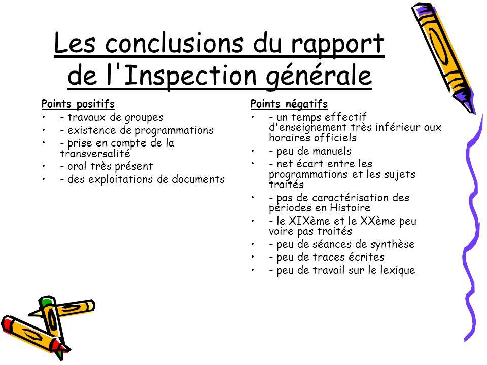 Les conclusions du rapport de l Inspection générale