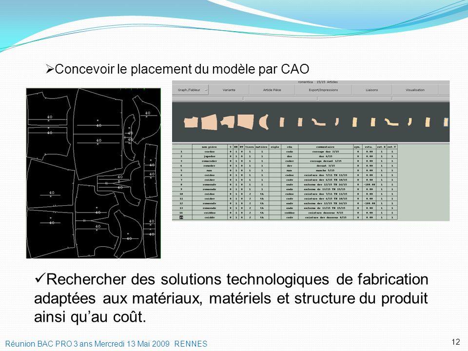 Concevoir le placement du modèle par CAO