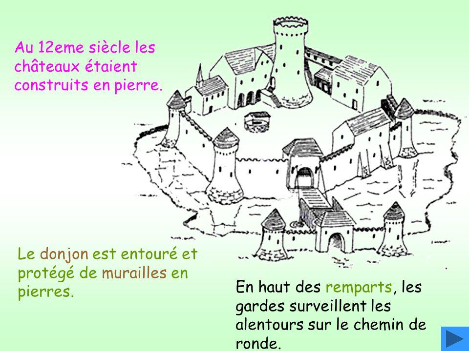 Au 12eme siècle les châteaux étaient construits en pierre.