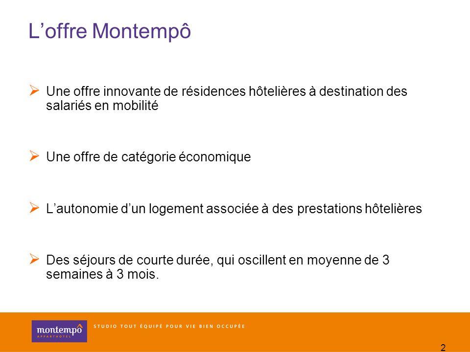L'offre Montempô Une offre innovante de résidences hôtelières à destination des salariés en mobilité.
