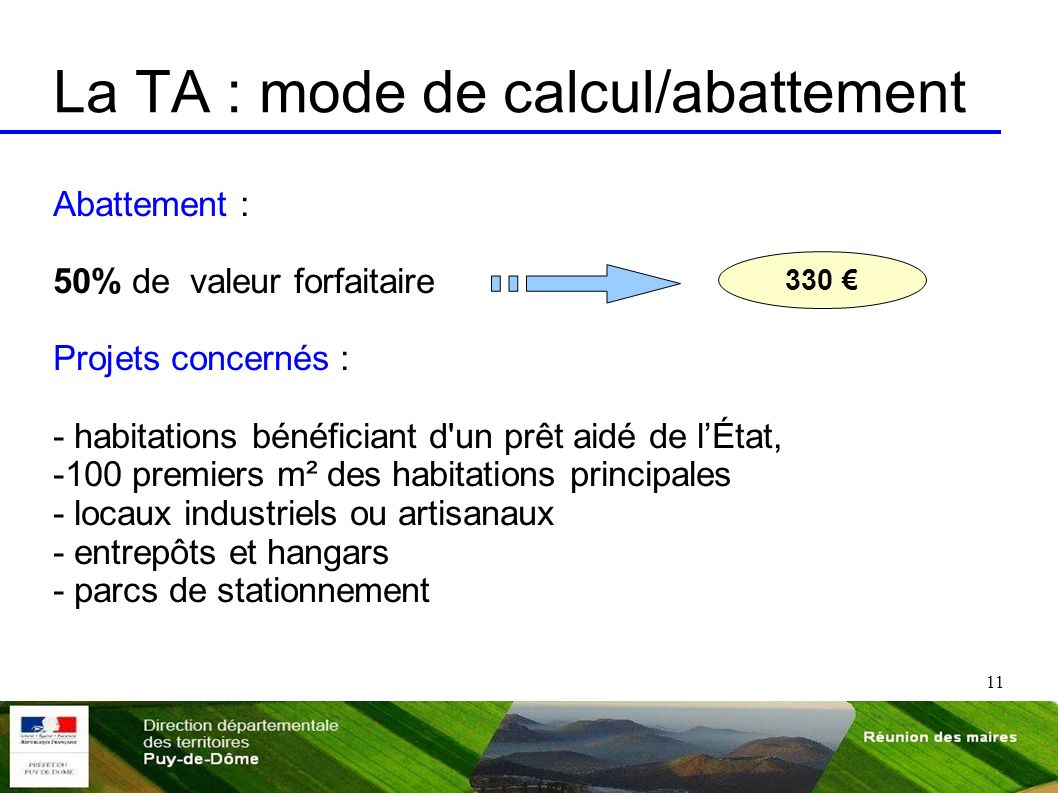 La TA : mode de calcul/abattement