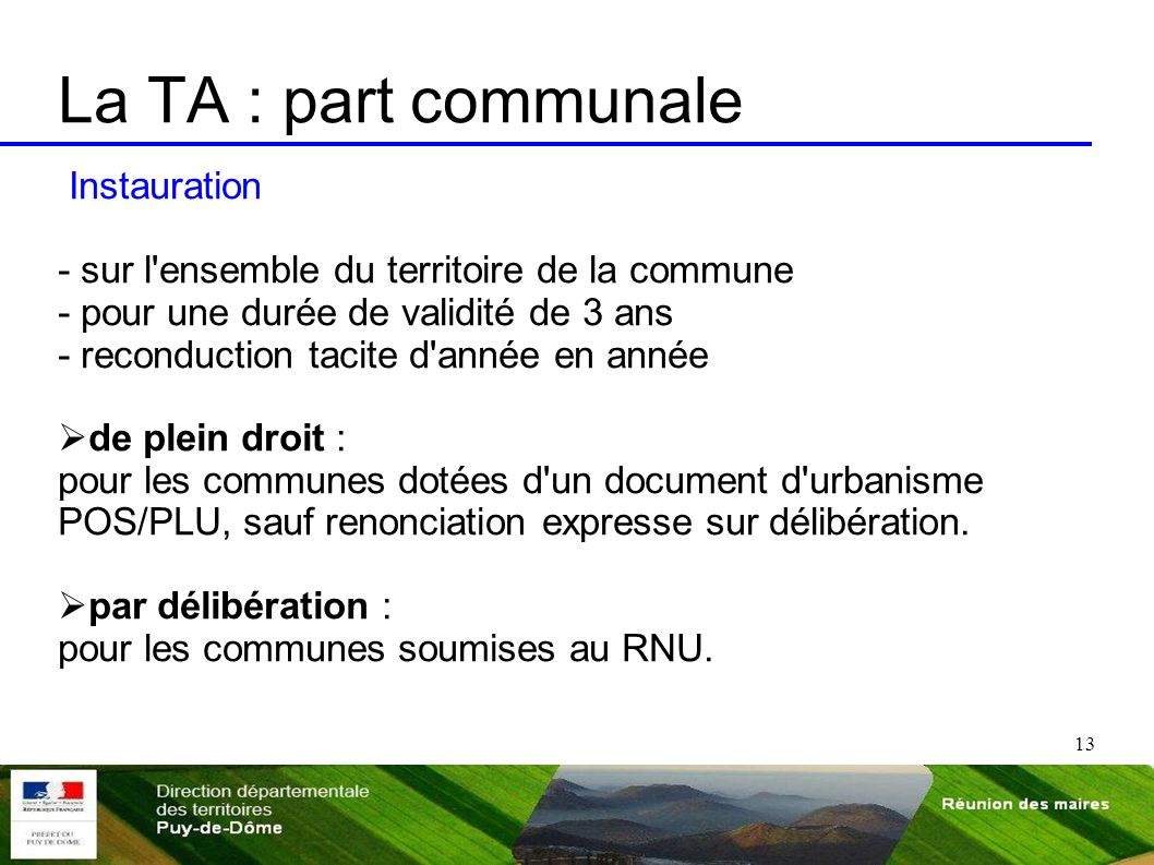 La TA : part communale Instauration
