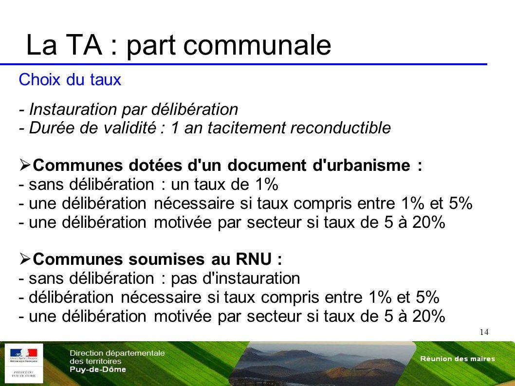 La TA : part communale Choix du taux - Instauration par délibération