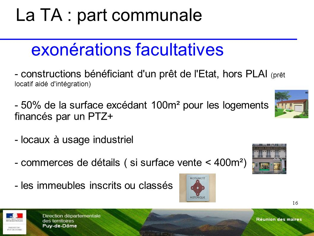 exonérations facultatives