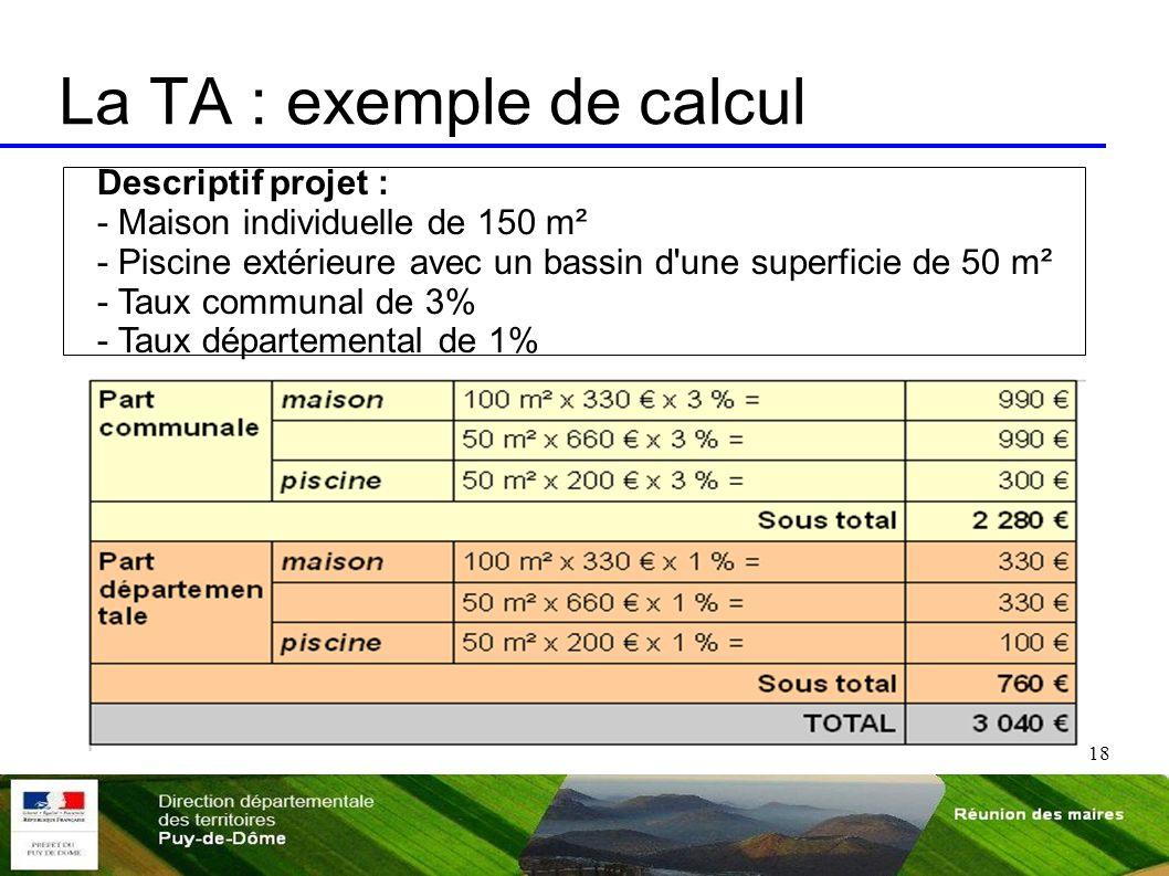 La TA : exemple de calcul