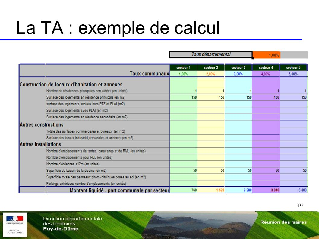 La TA : exemple de calcul