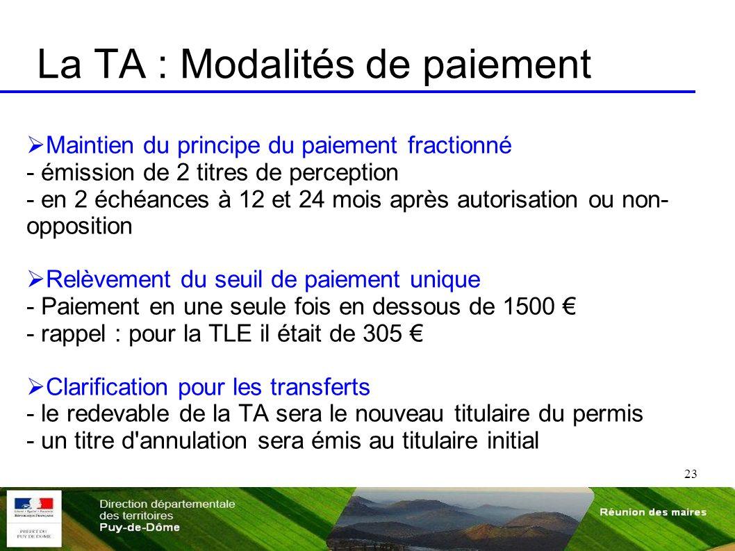La TA : Modalités de paiement