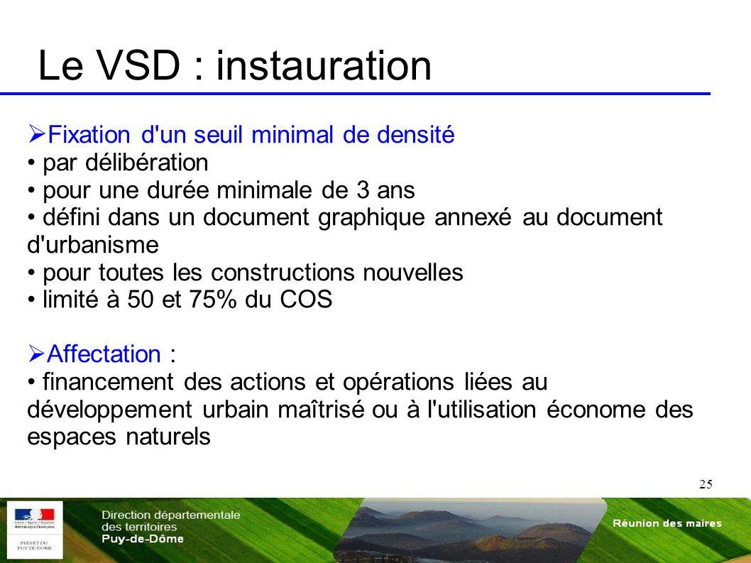 Le VSD : instauration Fixation d un seuil minimal de densité