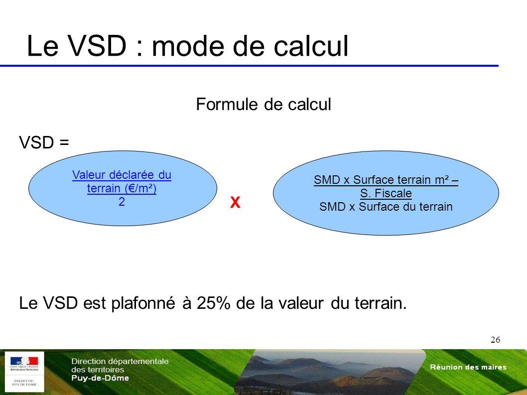 Le VSD : mode de calcul Formule de calcul VSD =