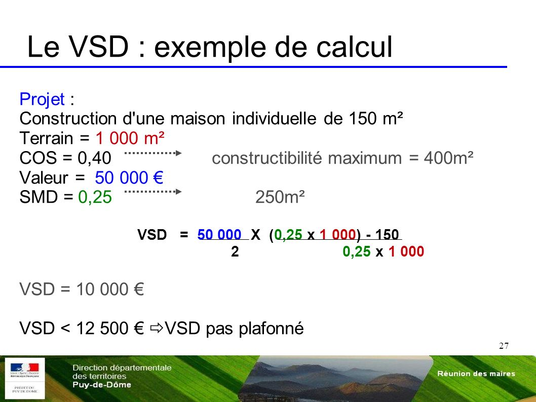Le VSD : exemple de calcul