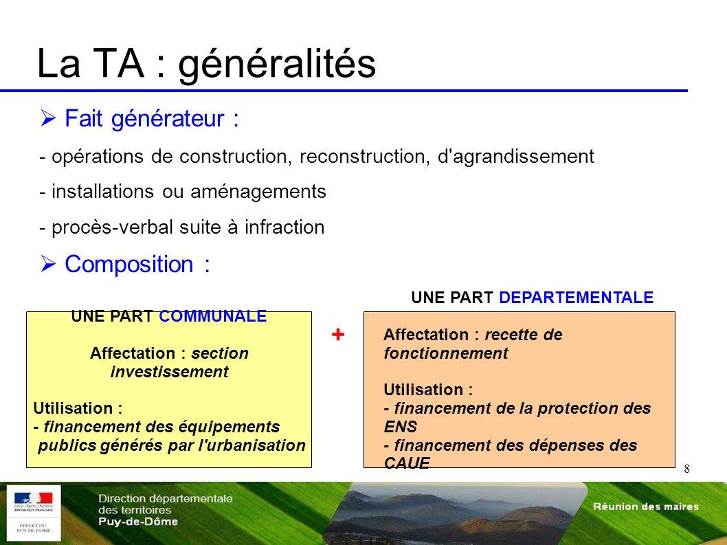 Affectation : section investissement UNE PART DEPARTEMENTALE