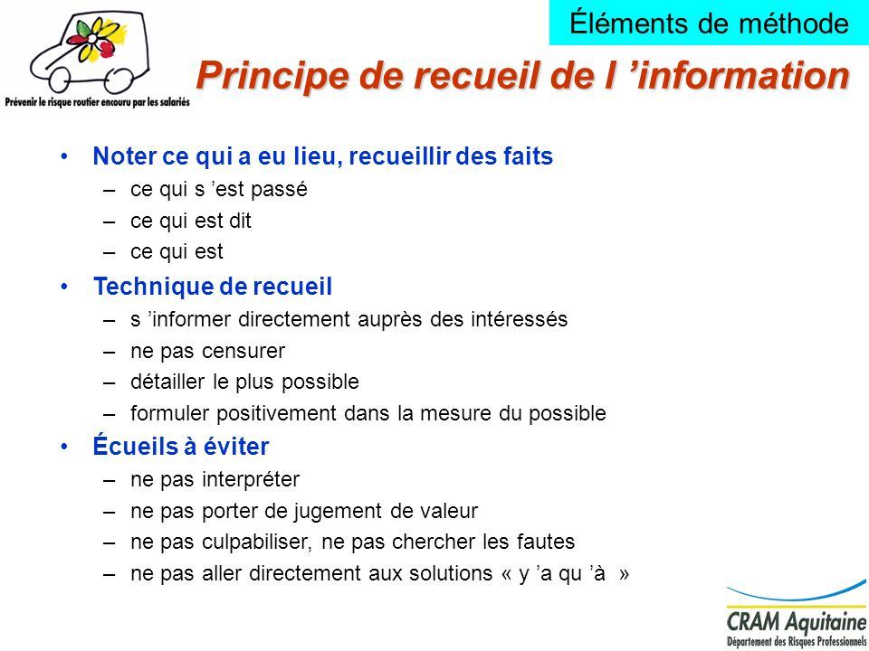 Principe de recueil de l 'information