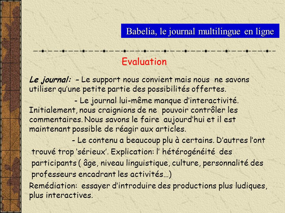 Evaluation Babelia, le journal multilingue en ligne