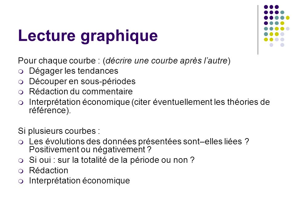 Lecture graphique Pour chaque courbe : (décrire une courbe après l'autre) Dégager les tendances. Découper en sous-périodes.