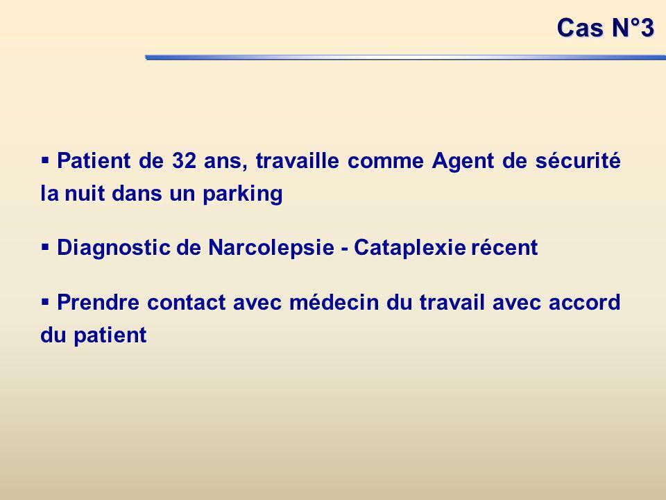 Cas N°3 Patient de 32 ans, travaille comme Agent de sécurité la nuit dans un parking. Diagnostic de Narcolepsie - Cataplexie récent.