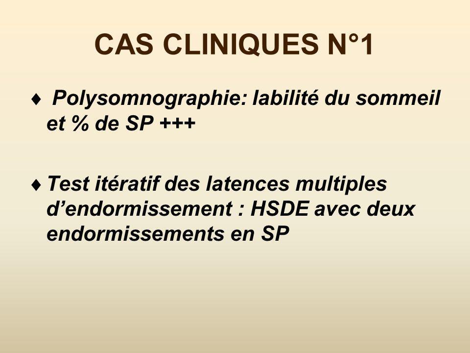CAS CLINIQUES N°1 Polysomnographie: labilité du sommeil et % de SP +++