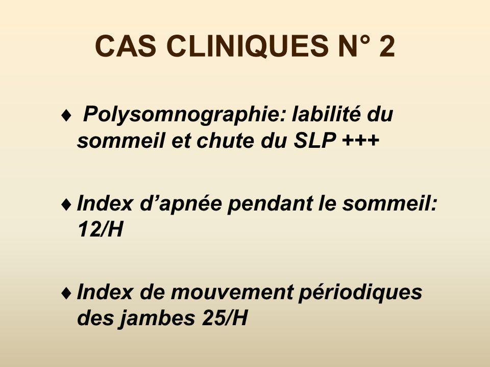 CAS CLINIQUES N° 2 Polysomnographie: labilité du sommeil et chute du SLP +++ Index d'apnée pendant le sommeil: 12/H.