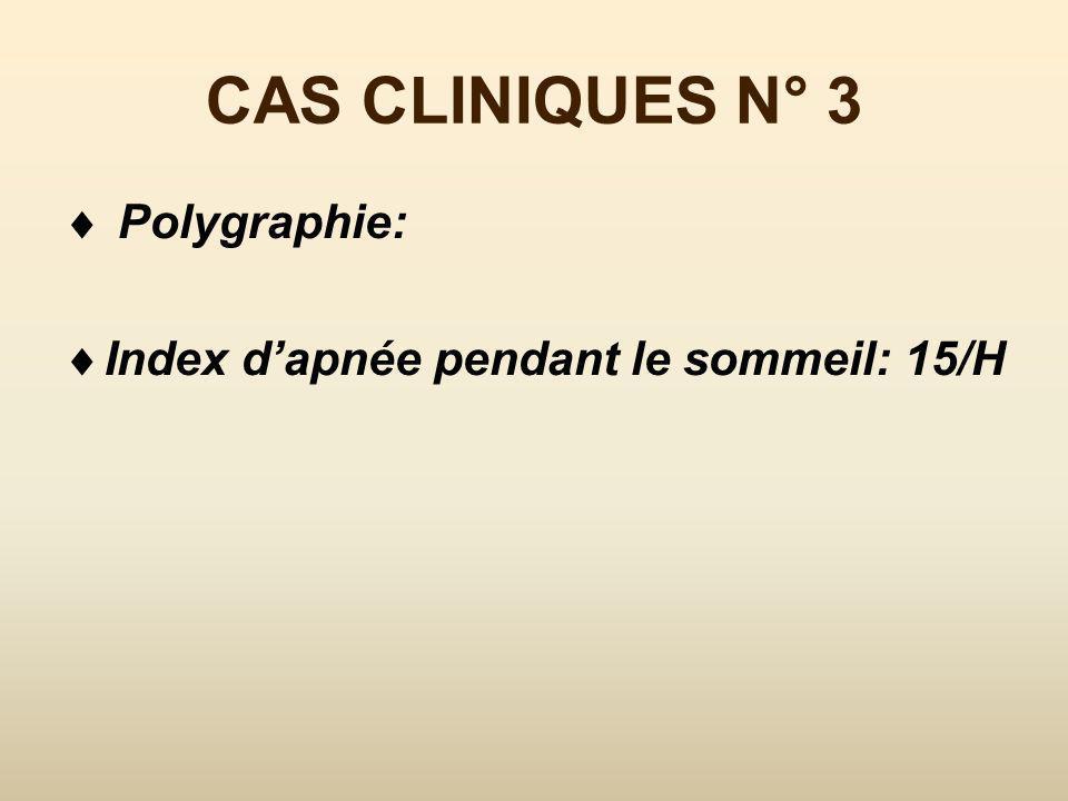 CAS CLINIQUES N° 3 Polygraphie: Index d'apnée pendant le sommeil: 15/H