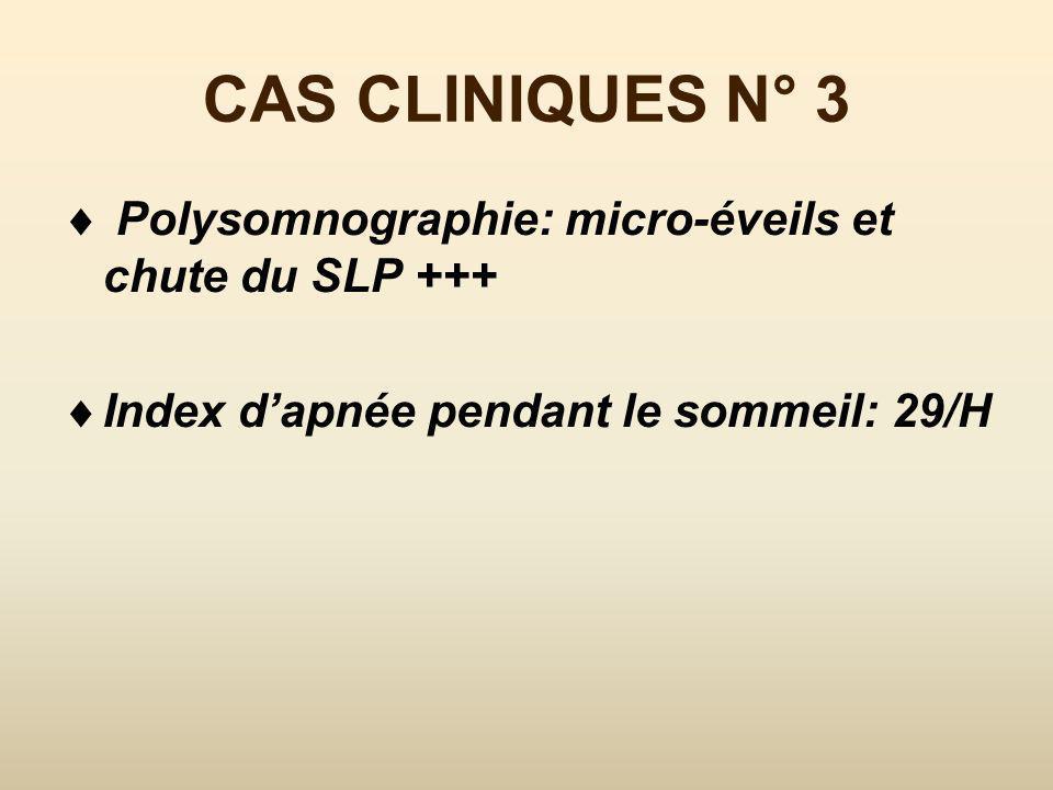 CAS CLINIQUES N° 3 Polysomnographie: micro-éveils et chute du SLP +++