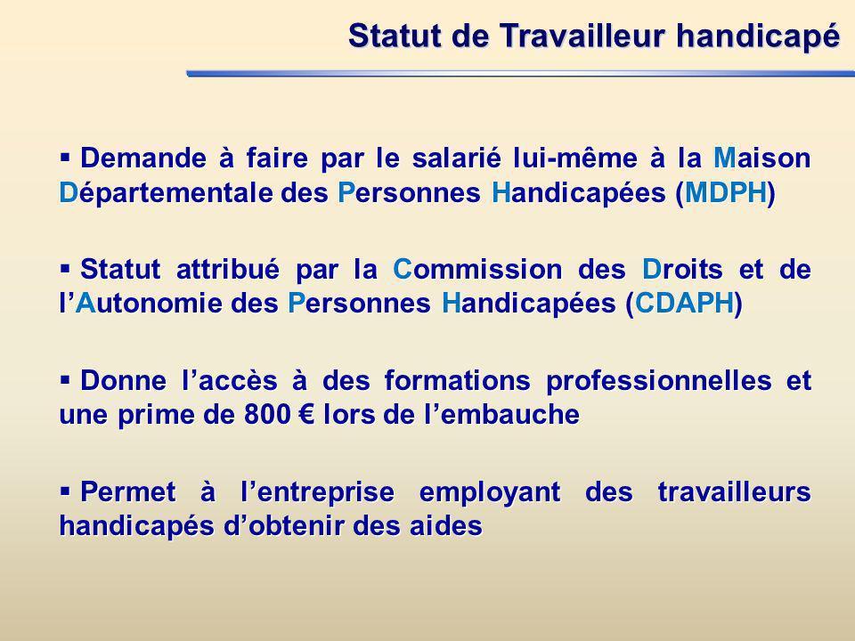 Statut de Travailleur handicapé