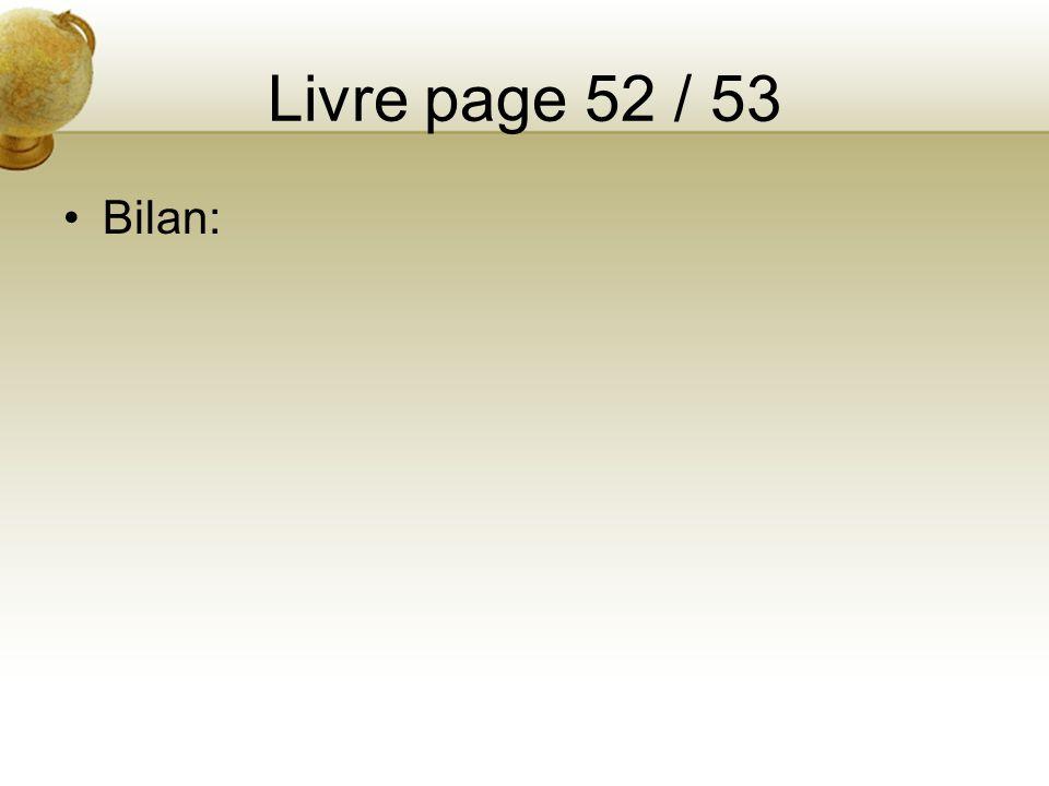 Livre page 52 / 53 Bilan: