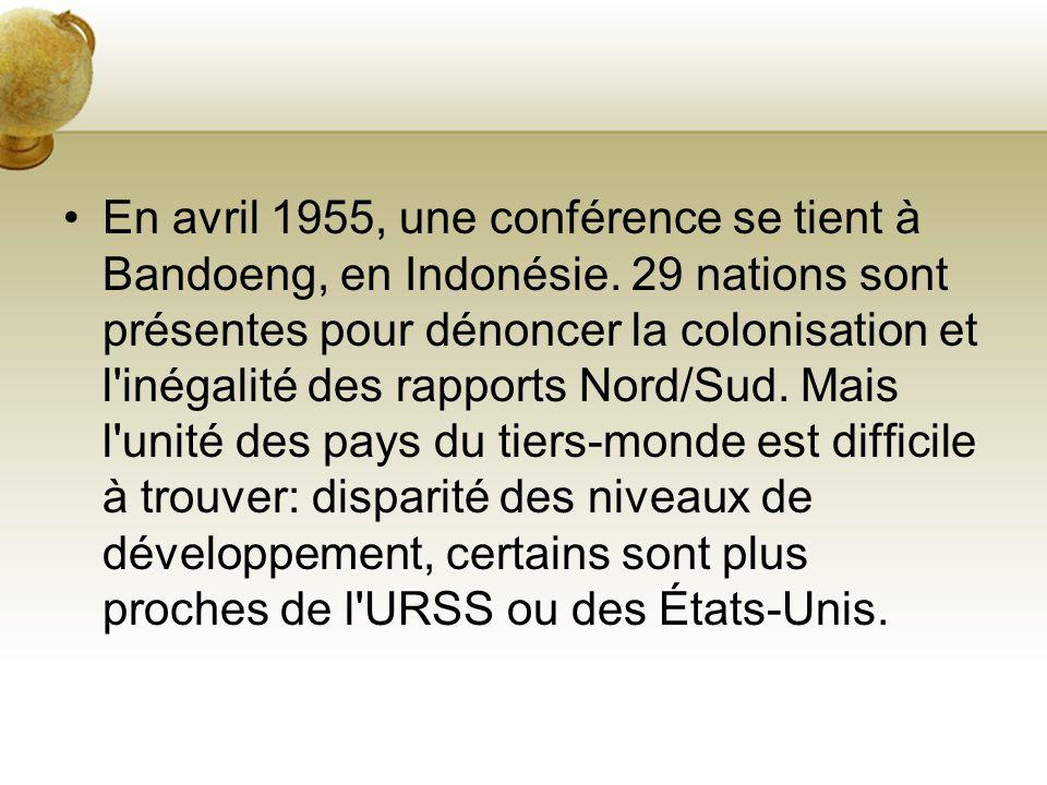En avril 1955, une conférence se tient à Bandoeng, en Indonésie