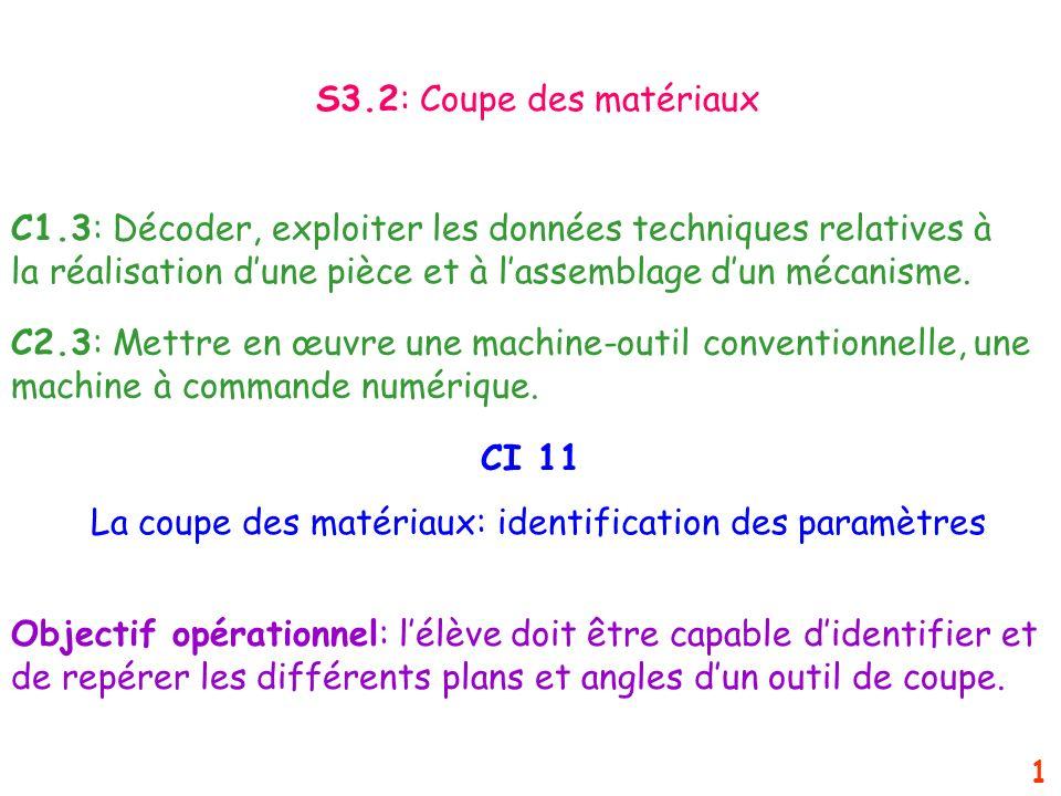 La coupe des matériaux: identification des paramètres