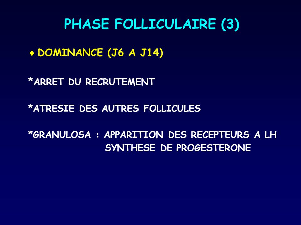 PHASE FOLLICULAIRE (3) DOMINANCE (J6 A J14) *ARRET DU RECRUTEMENT