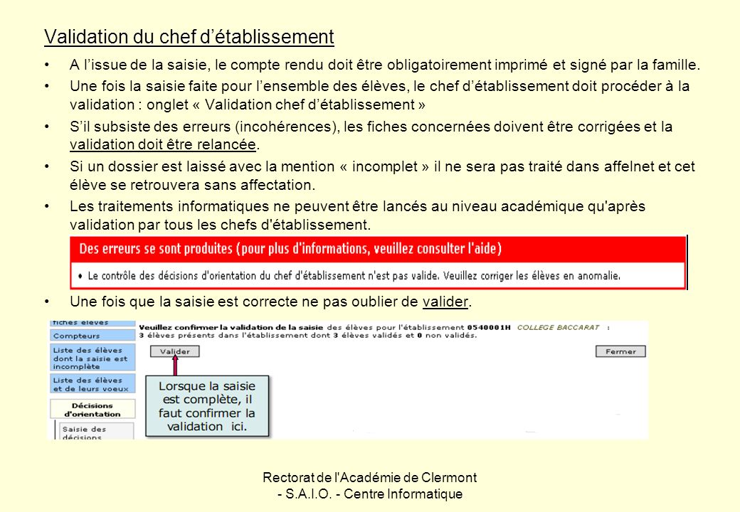 Validation du chef d'établissement