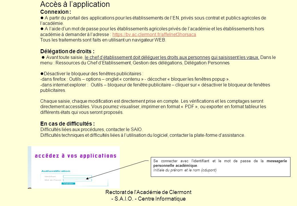 Rectorat de l Académie de Clermont - S.A.I.O. - Centre Informatique
