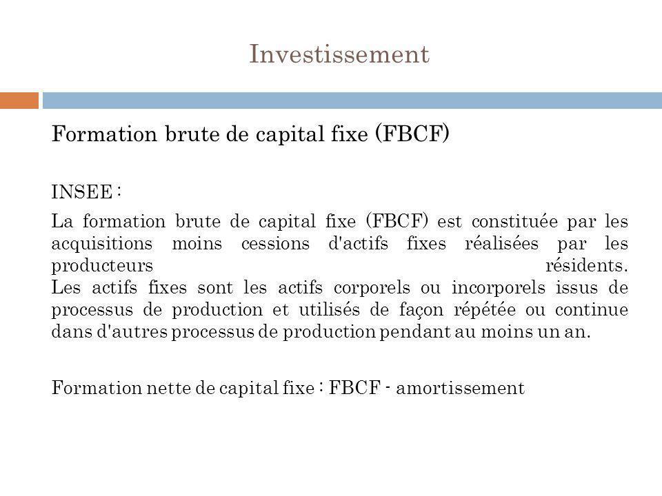 Investissement Formation brute de capital fixe (FBCF) INSEE :