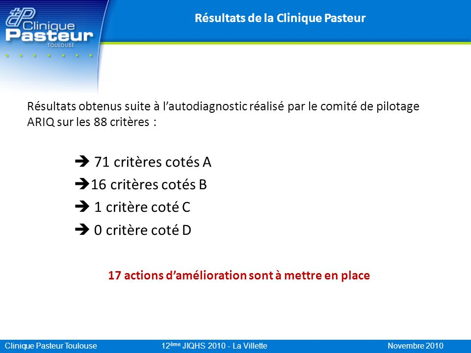 Résultats de la Clinique Pasteur