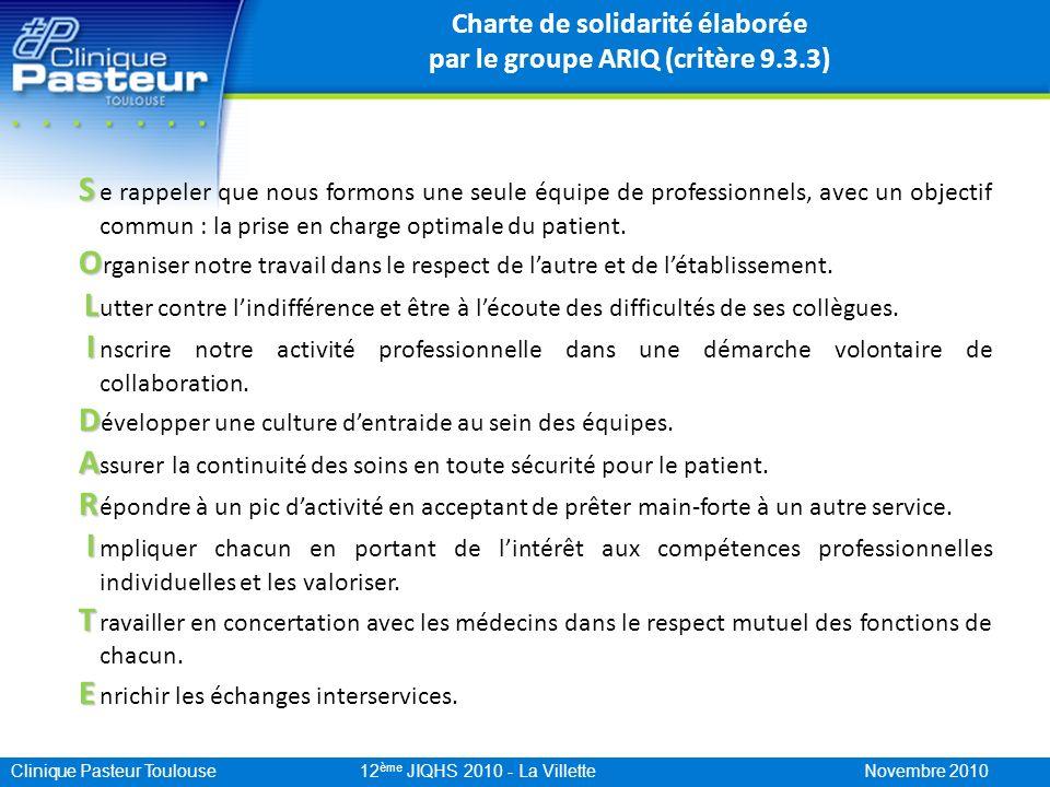 Charte de solidarité élaborée par le groupe ARIQ (critère 9.3.3)