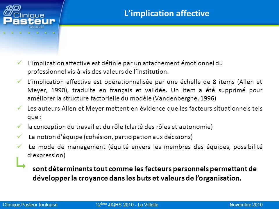 L'implication affective